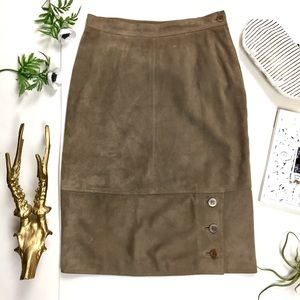 Gucci Brown Suede Leather High Waist Skirt Size S